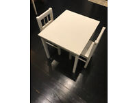 Children white table and two chairs (IKEA)
