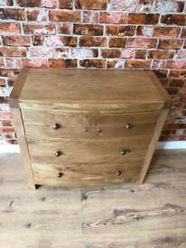 Bow Fronted Oak 3 Drawer lowboy