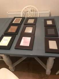 9 black and brown leather style photo frames