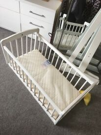 Baby's white cradle/bed with mattresses