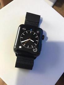 Apple Watch Series 2 Black Stainless Steel 42mm Milanese loop.