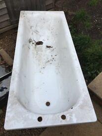 White steel bath