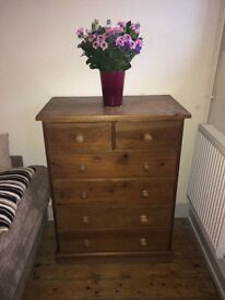 Solid wood rustic CHEST OF DRAWS - good/sturdy condition