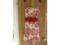 Red and white summer prom or party dress size 8