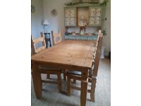 Rustic style dining table and 4 chairs