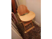 Child's high chair, solid pine, high quality, made to last.