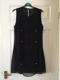 Miss Selfridge Women's Black Sleeveless Dress With Button Detail. Size 12.