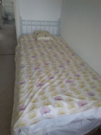 Single divan bed with white headboard