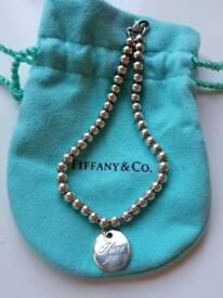 Tiffany & Co. NOTES I LOVE YOU round charm 4mm bead bracelet