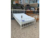 double metal white bed with mattress 🤗😴🤗