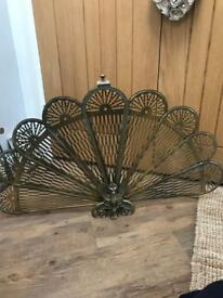 Beautiful Brass Fan Style Fire Guard