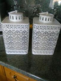 2 New Metal Lanterns with flickering candles