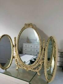 Antique triple mirror
