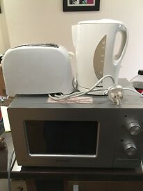 Microwave oven. Toaster and kettle