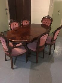 Louis style table and chairs 4 chairs 2 carvers