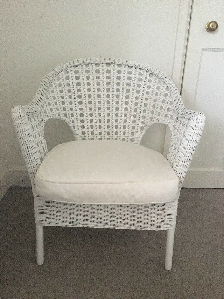 Ikea Wicker Chair And Cushion White