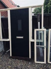 New Composite Black Front Door with side light windows