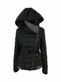 AMAVISSE UK - Women Clothes Winter Fashion Puffy Puffer Light Jacket with Hood and Belt
