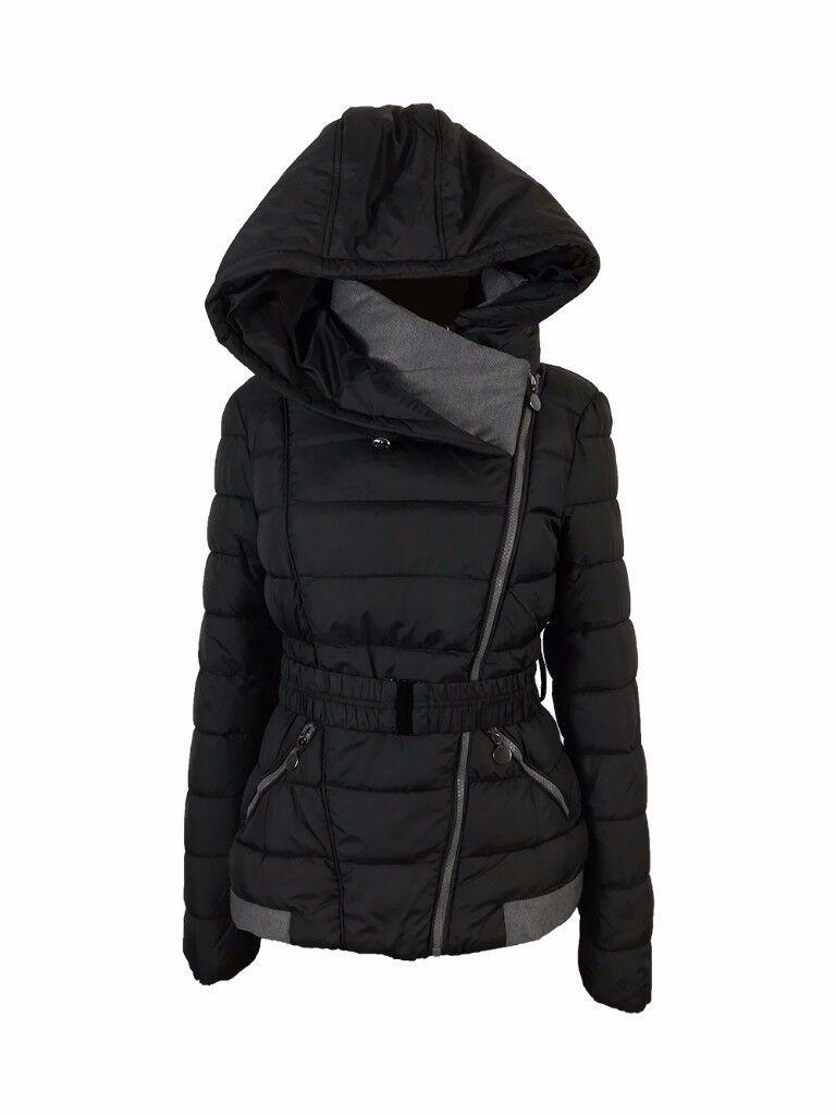 AMAVISSE UK - Women Clothes Winter Fashion Puffy Puffer Light Jacket with Hood and Belt