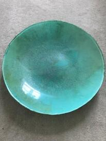 Turquoise glass bowl