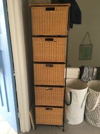 Sturdy Wicker and Wrought Iron Drawers