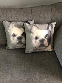 2 x Grey Tonal Bull Dog Cushions.
