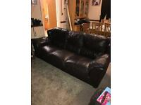 FREE - Brown Leather Sofa and 2 Armchairs