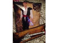 Men's large pirate fancy dress costume & pistol