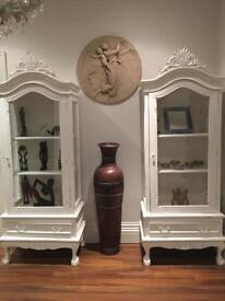 Pair of Painted Glazed Display Cabinets
