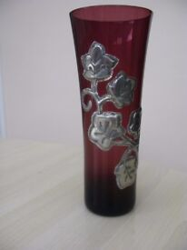 Pink / Mauve Glass Vase with hand applied Pewter design