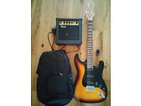 Stratocaster style Electric Guitar , amplifier, case and tuner - Ideal for beginner