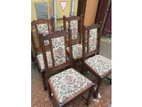A SET OF 4 VINTAGE STYLE OAK OLD CHARM DINING CHAIRS IN VERY GOOD USED CONDITION FREE LOCAL DELIVERY