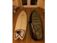 6'2 JP Fish Surfboard with Quad Lokbox Fins, Bag and Tailpad