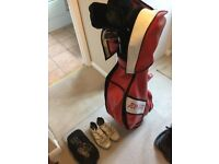 Golf clubs,bag and shoes