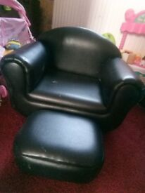 WANT GONE ASAP Black Child's Sofa Chair With Footstool