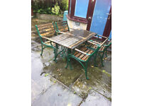 patio furniture table 4 chairs with a bench