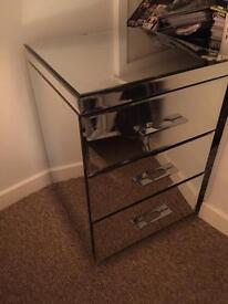 NEXT HOME solid mirror bedside table/chest of drawers.