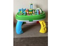 In the night garden activity table, vtech baby walker and Redkite high chair