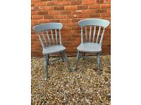 2 x painted pine kitchen chairs