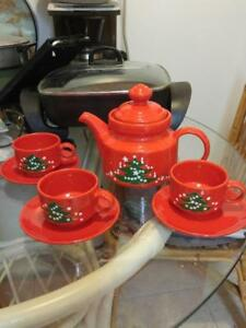 Rare WAECHTERSBACH Germany Tea Set Christmas Theme MidCentury Ceramics Pottery BRIGHT RED Xmas Tree Chunky MCM Retro