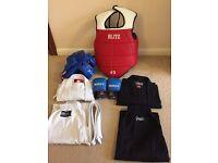 Karate suit white140cm and black150cm + blitz protection set