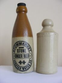 OLD STONEWARE GINGER BEER BOTTLES & FLAGONS WANTED BY COLLECTOR