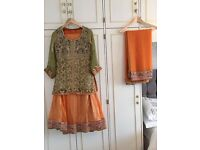 Olive and Orange lengha - Size 10/12 - £350