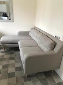 Sofology Beige Chaise Lounge Sofa
