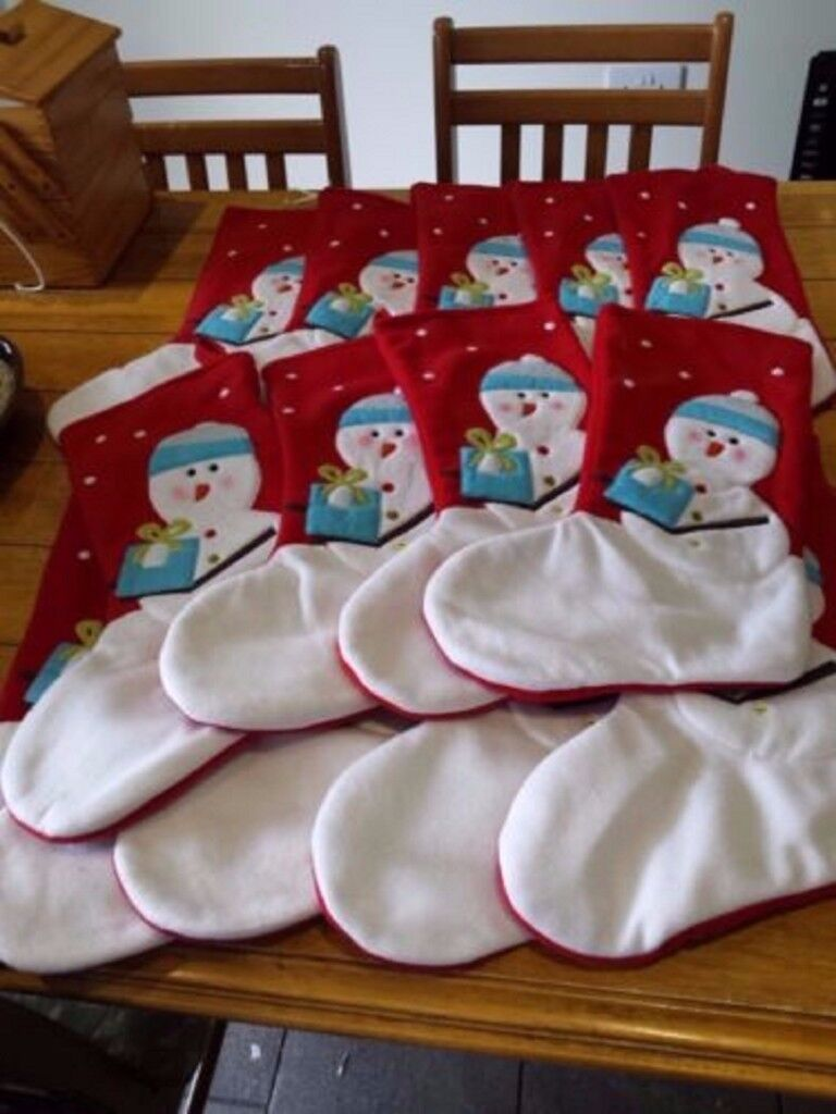 14 x Snowman Christmas Stocking Stockings 42cm long x 12cm wide