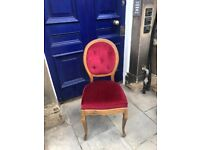 Red Bedroom chair , sturdy chair . Red velvet material .