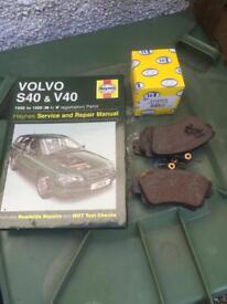 VOLVO S40 / V40 Haynes repair manual, spare set of unused brake pads and oil filter