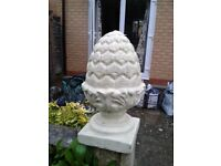 Pair of decorative stone pineapples