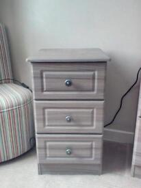 Single wardrobe and Bedside drawers.