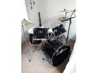 Gear4Music Black Drumkit with silencers